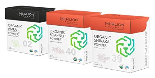 Merlion Naturals Organic Amla, Reetha & Shikakai Powder, Hair Care Dried Shampoo, 300gm / 10.5OZ (3 Pack of 100gm)