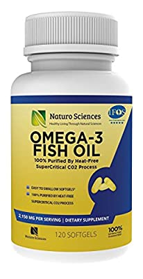 1700mg of Omega 3 - Essential Fatty Acid Fish Oil Supplement - IFOS 5 Star Certified, Best EPA 900mg & DHA 600mg Per Serving - Supercritical Process for Quality Purified Omega-3 120 Soft Gels1700mg of Omega 3 - Essential Fatty Acid Fish Oil Supplement - I