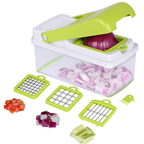 Vegetable Chopper Slicer Cutter,No-Mess Vegetable Fruit Dicer, Food Cutter with 3 Interchangeable Blades Set, Food Container & Cleaning Brush for Onion,Potato, Salad and More