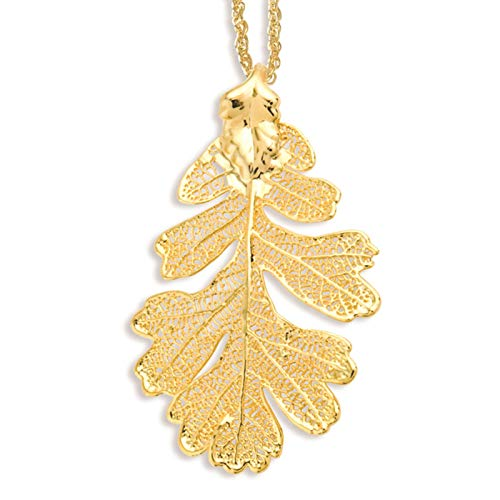 es Collection 24k Gold Dipped Oak Leaf Necklace w/Gold-Tone Chain 20