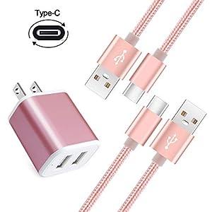 Hopepow USB充電器 2ポート USBコンセント ACアダプター Type C ケーブル2本付き