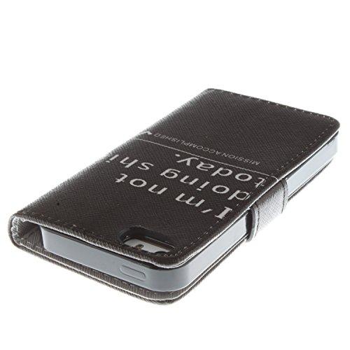 MOONCASE iPhone 5 Case Magnetverschluss [Painted Patterns] Leder Tasche Flip Case Cover Schutzhülle Etui Hülle Schale für iPhone 5 5S -LK23