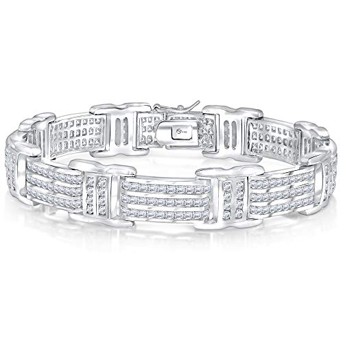 Men's Sterling Silver .925 Bracelet with 300 Channel Set Fancy Princess and Round Shaped Cubic Zirconia (CZ) Stones, Box Lock, Platinum Plated 8