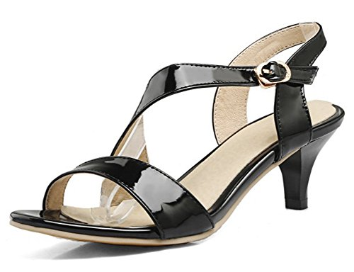 Mofri Women's Dressy Burnished Buckled Strap Open Toe Work Shoes Kitten Heel Sandals (Black, 4 B(M) US) ()