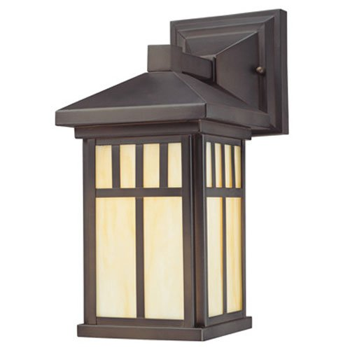 Westinghouse 6732800 Burnham One Light Exterior Wall Lantern On Steel With  Honey Art Glass, Oil Rubbed Bronze Finish