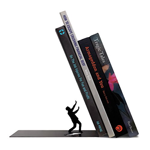Fred THE END Dramatic Funny Bookend Black Steel Tilted Man Decor (Large Image)