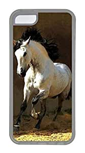 iPhone 5C Case, Customized Protective Soft TPU Clear Case for iphone 5C - White Horse Cover