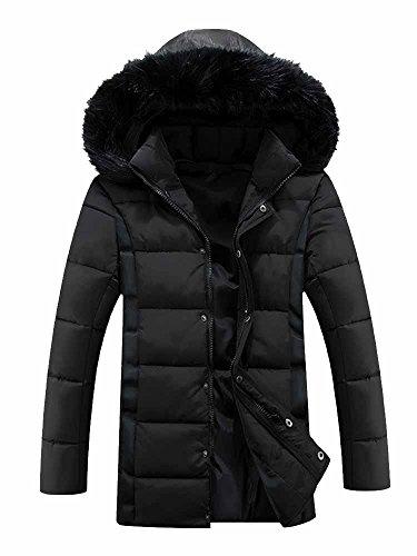Hood Jacket OCHENTA Padded Black Windproof Trim Winter Outdoor Faux Coat Fur Mens xqv6qrwaZI