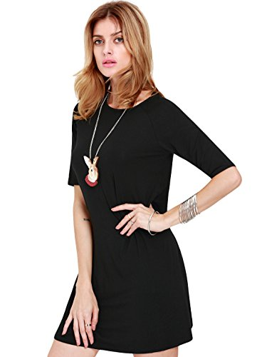 Sheinside Women's Black Half Sleeve Casual Dress