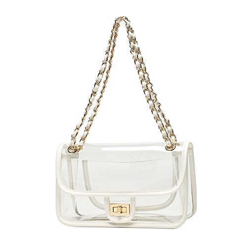 Asien Womens Transparent Clutch Clear Acrylic Purse Chain Shoulder Bags NFL Stadium Approved Bags(White) (Nfl Fashion)