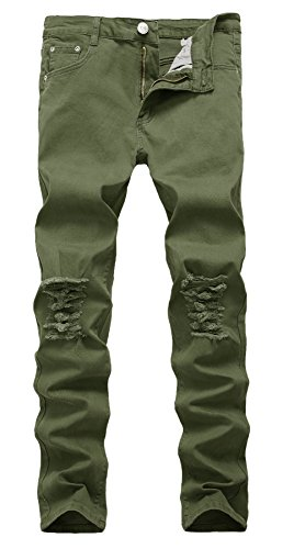 NITAGUT Men's Slim Fit Stretch Destroyed Ripped Skinny Denim Jeans Grey Green-US - Denim Jeans Green