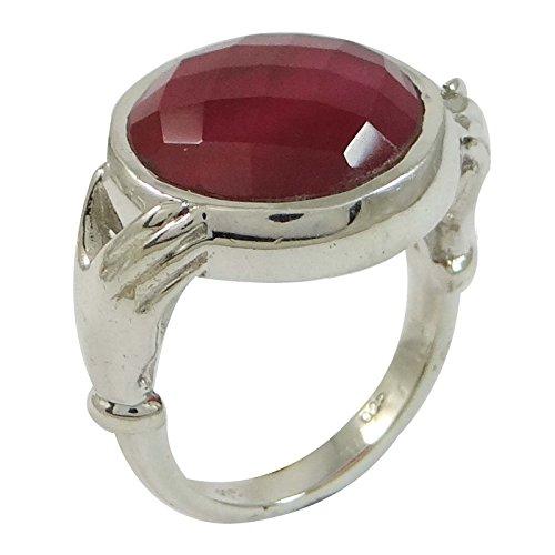 Banithani 925 rubis bague en argent des pierres précieuses bande de mode cadeau de bijoux pour les femmes