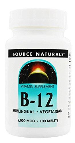 Source Naturals Vitamin B12 Sublingual 2,000 mcg Tabs, 100 ct (B-12 Natural Vitamins Source)