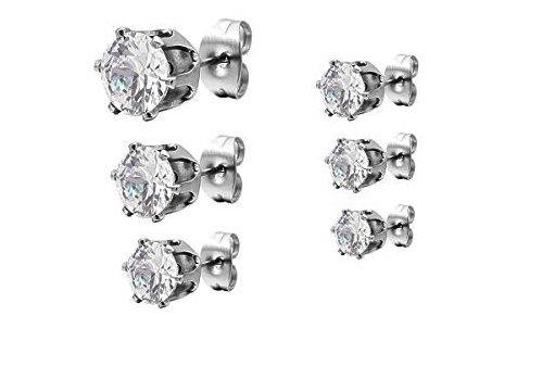 6 Paare Ohrringe in einem Set   Silber Edelstahl Kristall Ohrstecker    Elegant Gestüt Stecker   Ohrschmuck Zirkonia  Amazon.de  Schmuck fb906d2cfb
