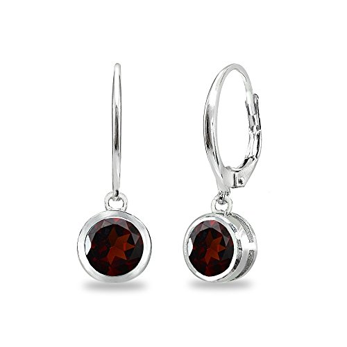 (Sterling Silver Garnet 6mm Round Bezel-Set Dangle Leverback Earrings )