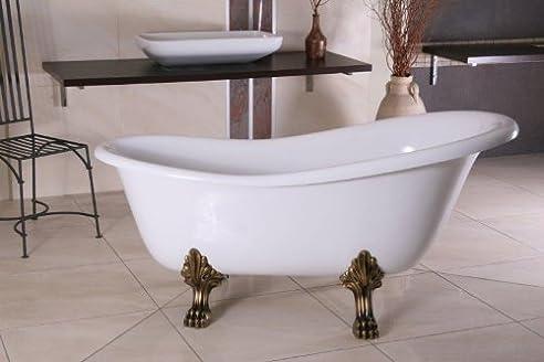 Freistehende Luxus Badewanne Jugendstil Roma Weiß/Altgold 1470mm   Barock  Badezimmer   Retro Antik Badewanne