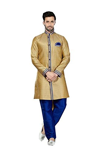 Da Facioun Mens Kurta Pajama Wedding Jaquard Gold India Party Wear Set Of 2 by Da Facioun