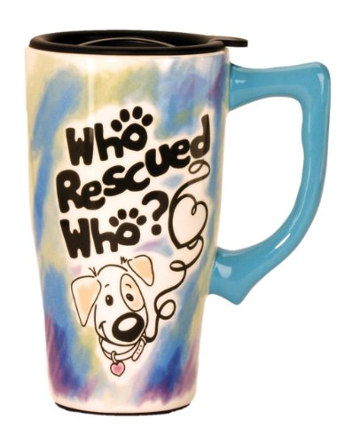 """Spoontiques""""Who Rescued Who"""" Travel Mug, Multi Colored"""