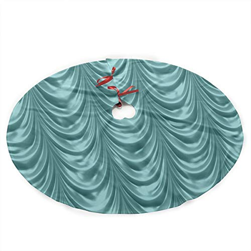 Satin Design Scalloped (NGFF Luxurious Aqua Ruched Satin Scalloped Cute Santa and Snowman Dolls Design Christmas Tree Skirt Gorgeous Xmas Tree Decoration Skirt)