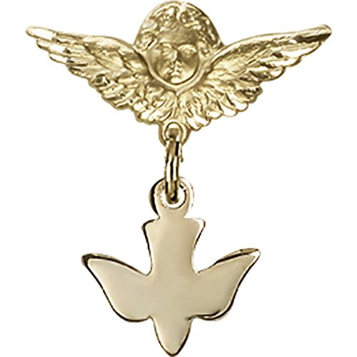 14kt Yellow Gold Baby Badge with Holy Spirit Charm and Angel w/Wings Badge Pin 3/4 X 3/4 inches by Unknown