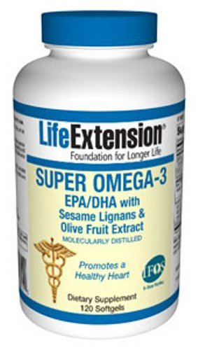 Life Extension Super Omega-3 EPA/DHA with Seasame Lignans and Olive Fruit Extract, 120 Softgels, Health Care Stuffs