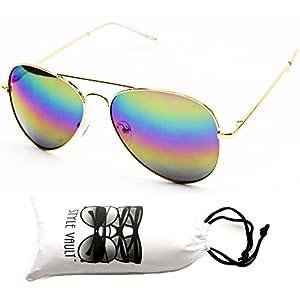 A120-vp Aviator 80s Metal Sunglasses Unisex (RB Gold-Rainbow Mirror, uv400)