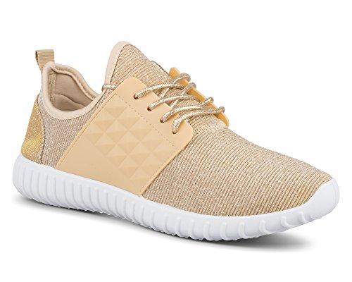 Vridna Kvinna Electra Lätt Athletic Mode Sneaker Guld
