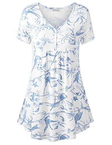 BAISHENGGT Women's V Neck Buttons Pleated Flared Tunic Tops Blue Floral #2 L