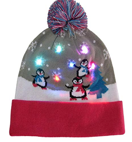 lorful Merry Christmas LED Light-up Knit Hat Beanie Hairball Warm Cap Gifts ()