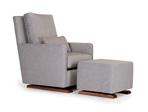 Monte Design Upholstered Modern Nursery Como Glider Chair and Ottoman, Pebble (Glider Ottoman Cover)