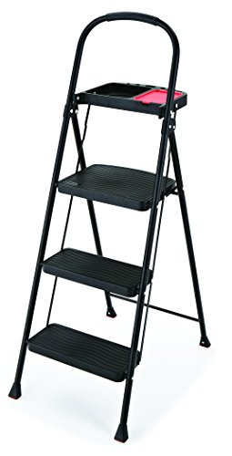 (Rubbermaid RMS-3T 3-Step Steel Step Stool with Project Tray, 225-pound Capacity)