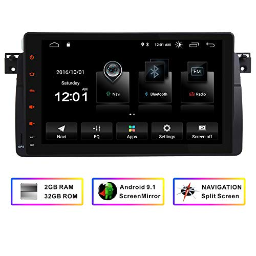 Car Stereo GPS Navigator for BMW E46 3er M3 320 325 Rover75 MG ZT,9 Inch HD Touchscreen FM Radio Android Quad-Core System Bluetooth Mirror Link WiFi 4G 1080P 32GB ROM