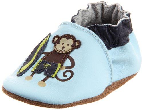 Soft Soles Monkey - Robeez Soft Soles Surfer Dude Monkey Pre-Walker (Infant/Toddler),Light Blue,0-6 Months (1-2 M US Infant)