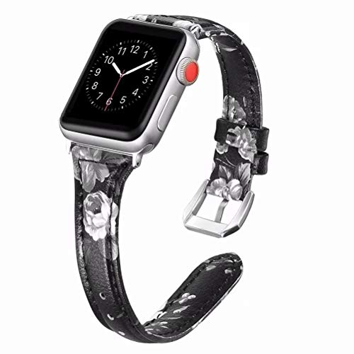 Compatible with iWatch Band 42MM 44MM Leather Ladies, Floral Pattern Printed Leather Wrist Band Flower Design Strap…