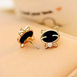 Hemlock Women Girl's Black Cat Cute Earrings (Gold)