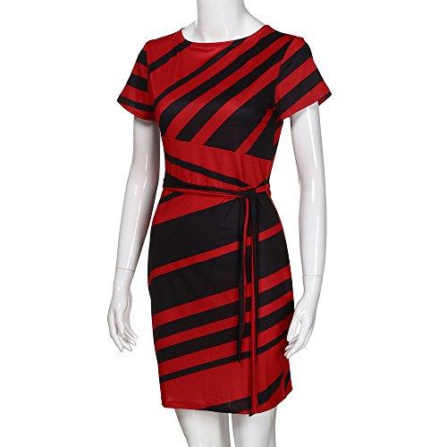 Estate Cocktail Stripe Casual Sexy Ufficio Night Rosso Party Abiti Short Elegante Donna Slim Dress Fit Fashion Vpass w87tn