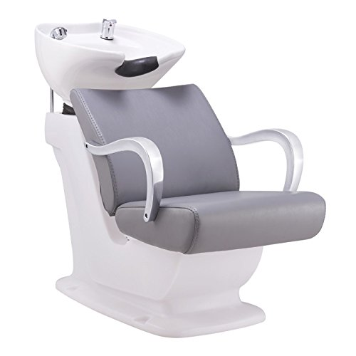 (Beauty Salon Shampoo BACKWASH Unit Sink Station Tilting Ceramic Sink with Adjustable SEAT - Beckman)