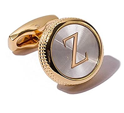 Mens 2PCS Fashion Dazzle Tuxedo Shirts Cufflinks 18K Gold Plated Cuff Button Alphabet Letter A-Z