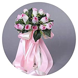 2019 Beautiful Handmade Flowers 24 pcs Artificial Rose Flowers Pearls Bride Bridal Lace Accents Wedding Bouquets with Ribbon 69