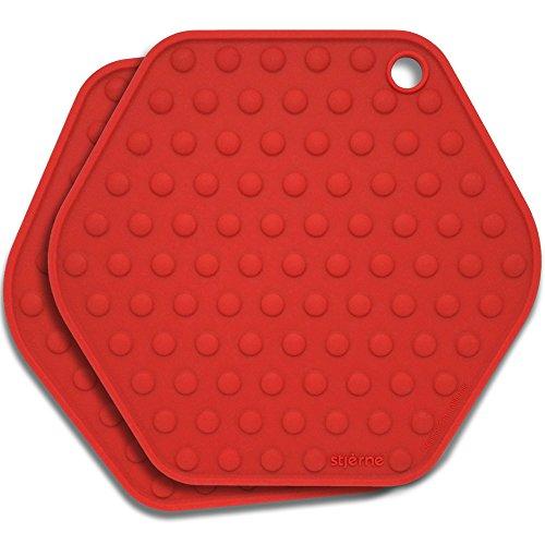Stjerne Set of 2 Multipurpose Large Silicone Trivets, Mat, Multiple Spoon Rest, Jar Opener, Pot Holder, Coaster, 5-in-1, Heavy Duty & Flexible (Cherry) ()