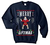 Sanfran - Merry Liftmas Top Christmas Xmas Weightlifting Gym Ugly Jumper Sweater (Navy Blue, Extra Large)