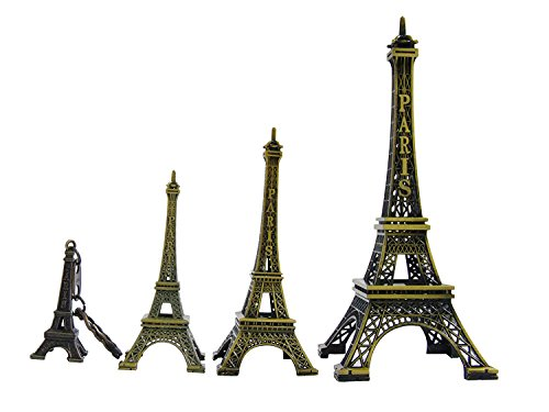 Ceeyali 3D Metal Paris Eiffel Tower Craft Art Statue Model for Table Decor,Cake Topper,Gifts,Party,Jewelry Stand Holder,Home Decoration,Bronze(15cm+10cm+8cm+5cm)