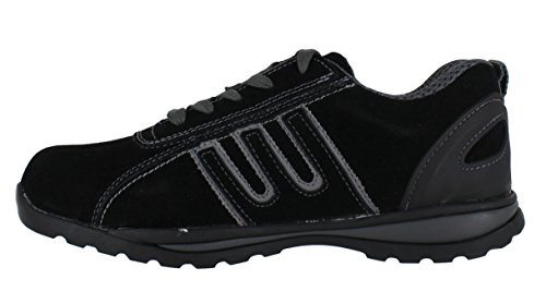 Groundwork GR86 Zapatos de Seguridad de Cuero, Unisex Negro/Gris