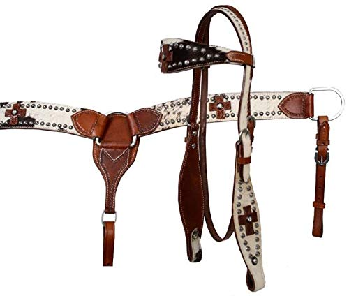 - Showman Leather Headstall & Breast Collar Set w/Genuine Cowhide Overlays & Leather Crosses! New Horse TACK!