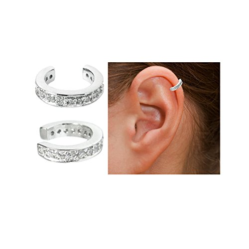 Queenberry Sterling Silver Round Ring Cubic Zirconia Pave Earring Cuff Wrap