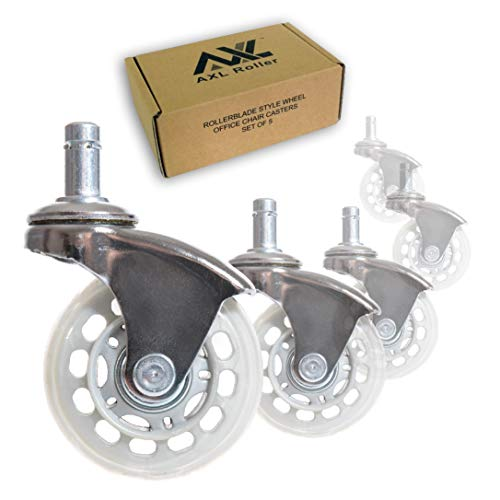 AXL Office Chair Caster Wheels Replacement Heavy Duty with Rollerblade Style (Soft Rubber) - Safe for Hardwood Floors, Carpet, Desk Floor Mat - 2.5 Inch Chrome /Grey Clear Wheel, Universal Fit