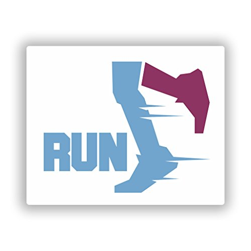 (2 x 25cm/250mm Running Marathon Jogging Gym Vinyl Sticker #10357)