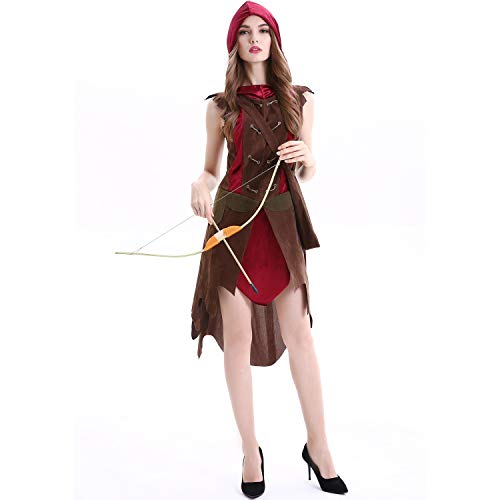 MUMUWU Woman Cosplay Dress Forest Hunter Red Riding Hood Halloween Primitive Man Tribal Warrior Costume M-XL Costumes Cosplay (Color : 1816, Size : M)