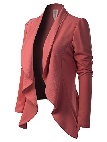 MixMatchy Women's [Made in USA] Solid Formal Style Open Front Long Sleeves Blazer (S-3X) Dusty Rose M