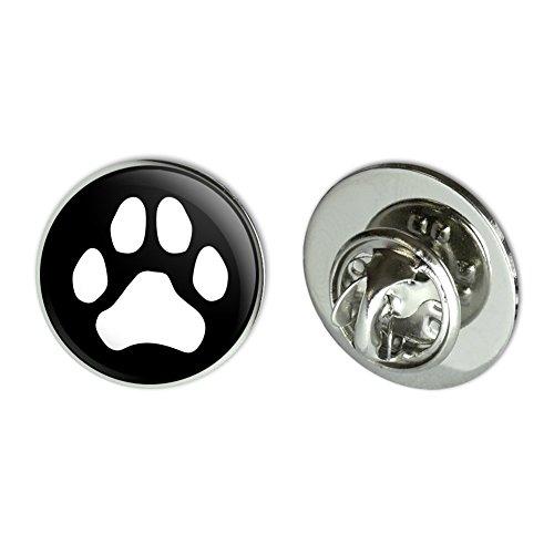 """GRAPHICS & MORE Paw Print Dog Cat White on Black Metal 0.75"""" Lapel Hat Pin Tie Tack Pinback"""